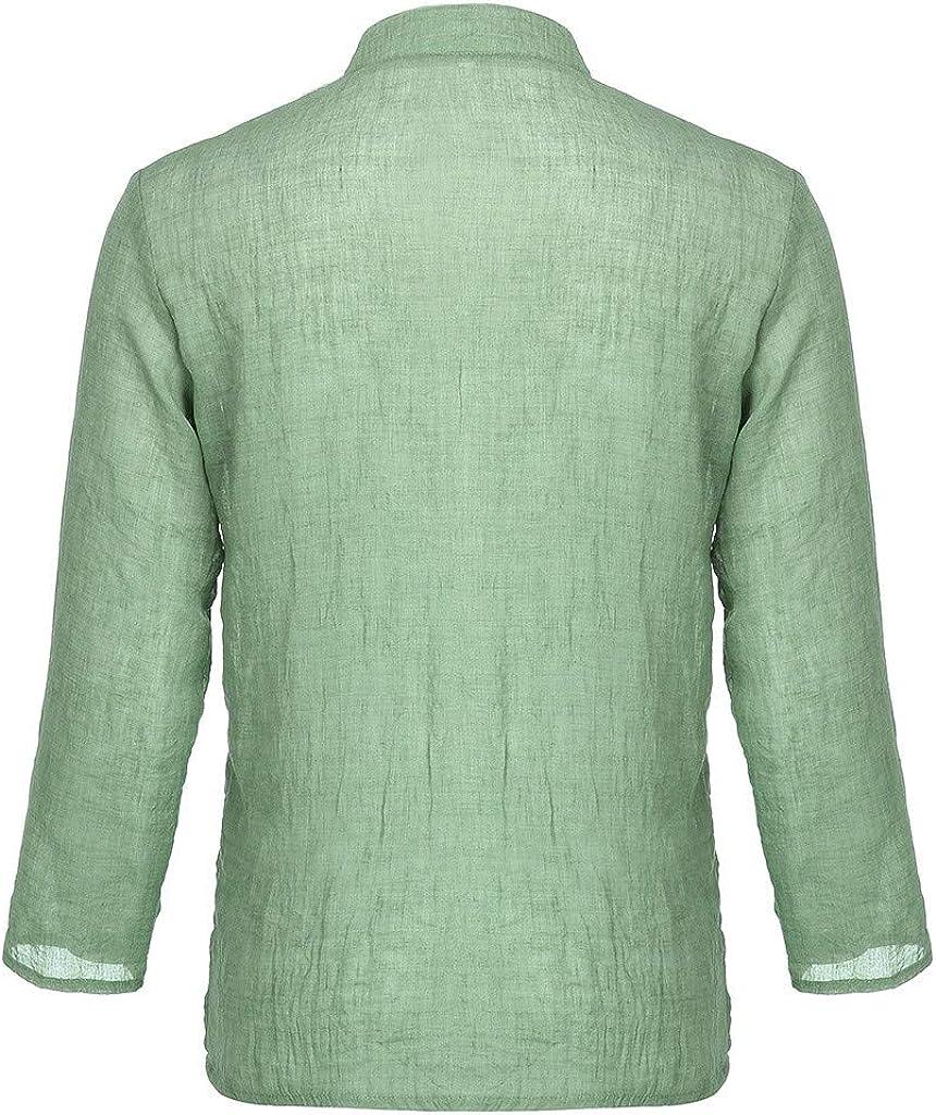 Camiseta Hombre Verano Manga Corta Color s/ólido Moda Casual Suelto T-Shirt Blusas Camisas Camiseta Cuello en v Suave b/ásica Camiseta Top vpass