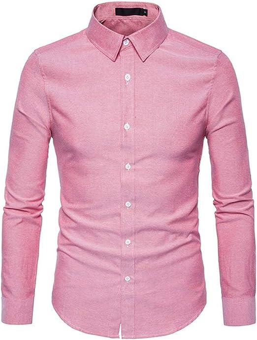 Dfghbn Camisa de Manga Larga para Hombre Color sólido Slim Simple Joker Camisa Casual con Cuello Abotonado (Color : Rosado, tamaño : Metro): Amazon.es: Hogar
