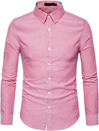 Weentop Camisas para Hombres Regular Fit Camisa de Manga Larga para Hombre Color sólido Slim Simple Joker (Color : Rosado, tamaño : L): Amazon.es: Hogar