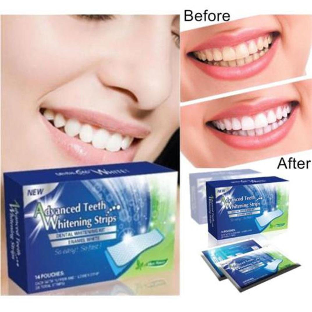 28pcs Effets Blancs Whitestrips Dentaires Rayures Avancées de Blanchiment des Dents Yogogo Yogogo001