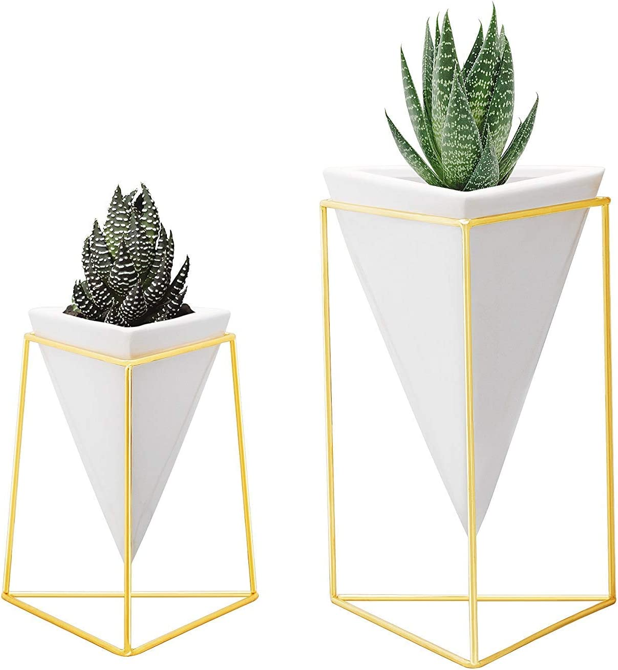 Nellam Modern Geometric Table Vases – Set of 2, 1 x Large, 1 x Small, White Ceramic Porcelain Style Baskets, with Decorative Brass Wire Frames – Accents Blue, Turquoise, and Yellow Flowers