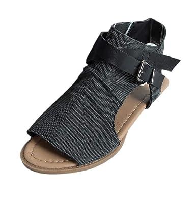e419ff64b Summer Vintage Women Open Toe Flat Sandals Ankle Strap Buckle Canvas Sandals  Bohemia Beach Shoes Fish