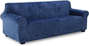 TIANSHU Velvet Sofa Slipcover 1-Piece Soft Plush Oversized Couch Cover for 4 Cushion,Stretch Sofa Cover for XL Sofa,Stylish Fleece Furniture Cover Protector for Extra Large Sofa.(XL Sofa,Aegean Blue)