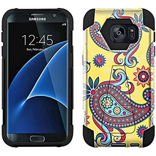 Samsung Galaxy S7 Edge Hybrid Case Paisley Flower on Yellow 2 Piece Style Silicone Case Cover with Stand for Samsung Galaxy S7 Edge Sales