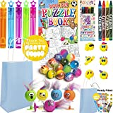 12 Kids Birthday Party Bags Blue - Pre Filled Boys and Girls Toys, Bubbles, Bouncy Balls and more Party Favours for Children