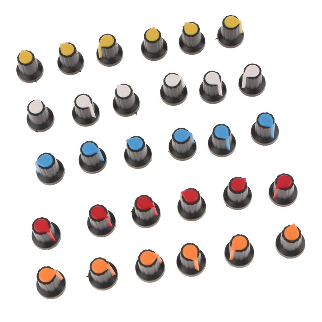 30 Piezas WH148 AG2 Para Potenci/ómetros De Eje De 6 Mm Perilla Sombrero 5 Colores Pl/ástico