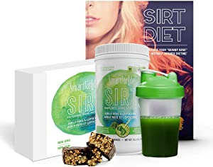 Smart for Life SIRT Food Diet Kit - Super Food Green Meal Replacement Shake for SIRT Diet - SIRTFOOD Vegan Diet Bars - Sirtfood Diet Book Guide - Lepticore and Adele Rose - W/Shaker