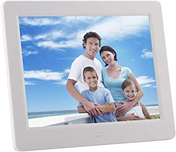 8 inch LED Display Multi-Media Digital Photo Frame with Holder & Music & Movie Player, Support USB/SD/SDHC/MMC Card Input (Black) Durable (Color : Silver)