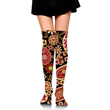 Womens//Girls Halloween Floral Vintage Pattern Casual Socks Yoga Socks Over The Knee High Socks 23.6