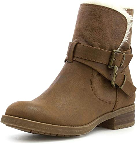 Lilley Womens Brown Faux Fur Lined Ankle Boot