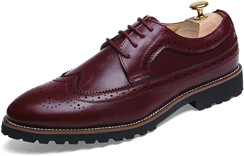 SRY-Zapatos de Moda Moda Masculina Oxfords talón Plano con Cordones de Color sólido Zapatos de Ocio
