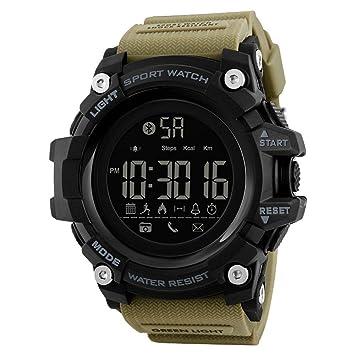 WULIFANG Los Hombres Smart Sports Watch Podómetro Calorías Moda Cronógrafo Deportes Al Aire Libre De 50 Metros Impermeable Reloj Digital Amarillo: ...