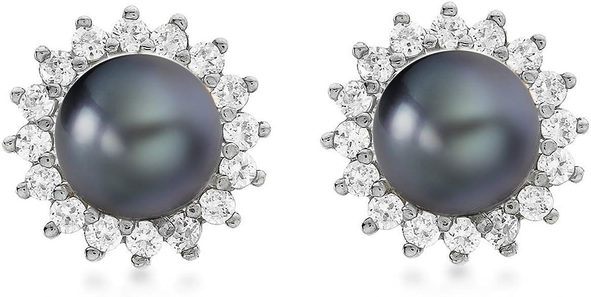 Boucles d'oreille - 1.58.655G - Pendientes de mujer de oro blanco (9k) con 40 perlas y diamantes (2 perlas)
