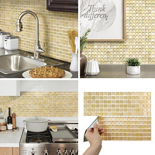 - BEAUSTILE Decorative Tile Stickers Peel and Stick Backsplash Fire Retardant Tile Sheet (2, Beige)