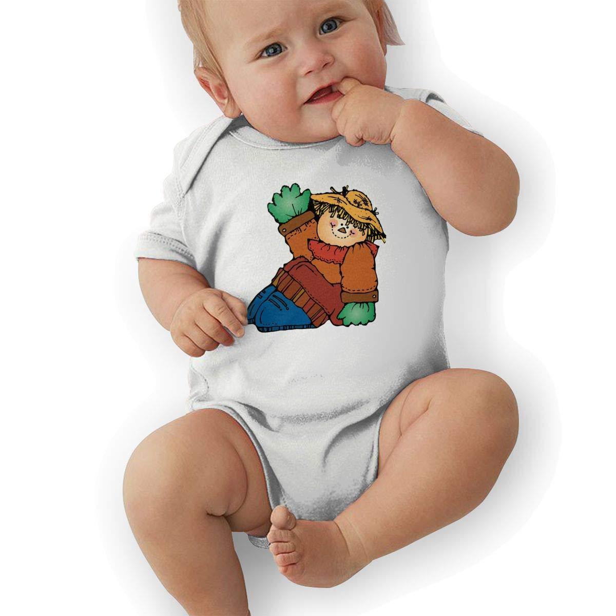 Infant Baby Boys Bodysuit Short-Sleeve Onesie Scarecrow Fat Boy Print Rompers Spring Pajamas