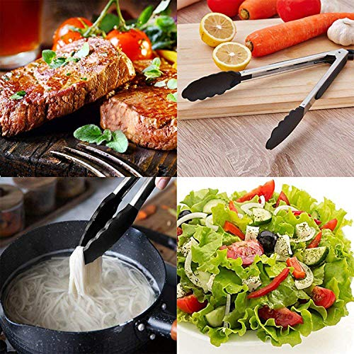 """Stainless Steel Kitchen Cooking Tongs,9""""and 12""""Multifunctional Silicone Food Clip,Locking Metal Food Tongs Non-slip Grip. for Food Grill,Salad,Bbq,Frying,Serving and Cooking (Black)"""