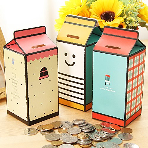 Xelue FF 3 Pcs Environmental Protection Cardboard Cute DIY Makeup Milk Cartons Piggy Bank Desk Decor,Kids Toy -