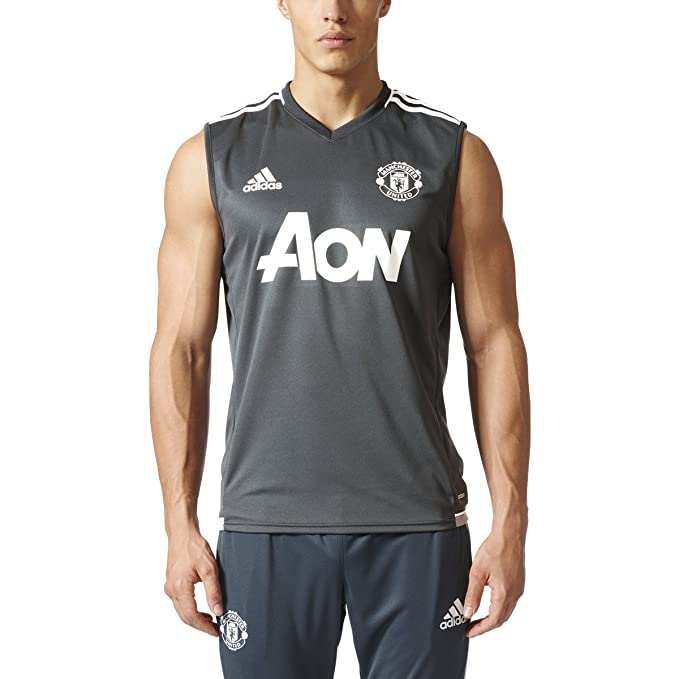 f681d6a99 adidas Men s Manchester United Sleeveless Training Jersey (Small) Grey
