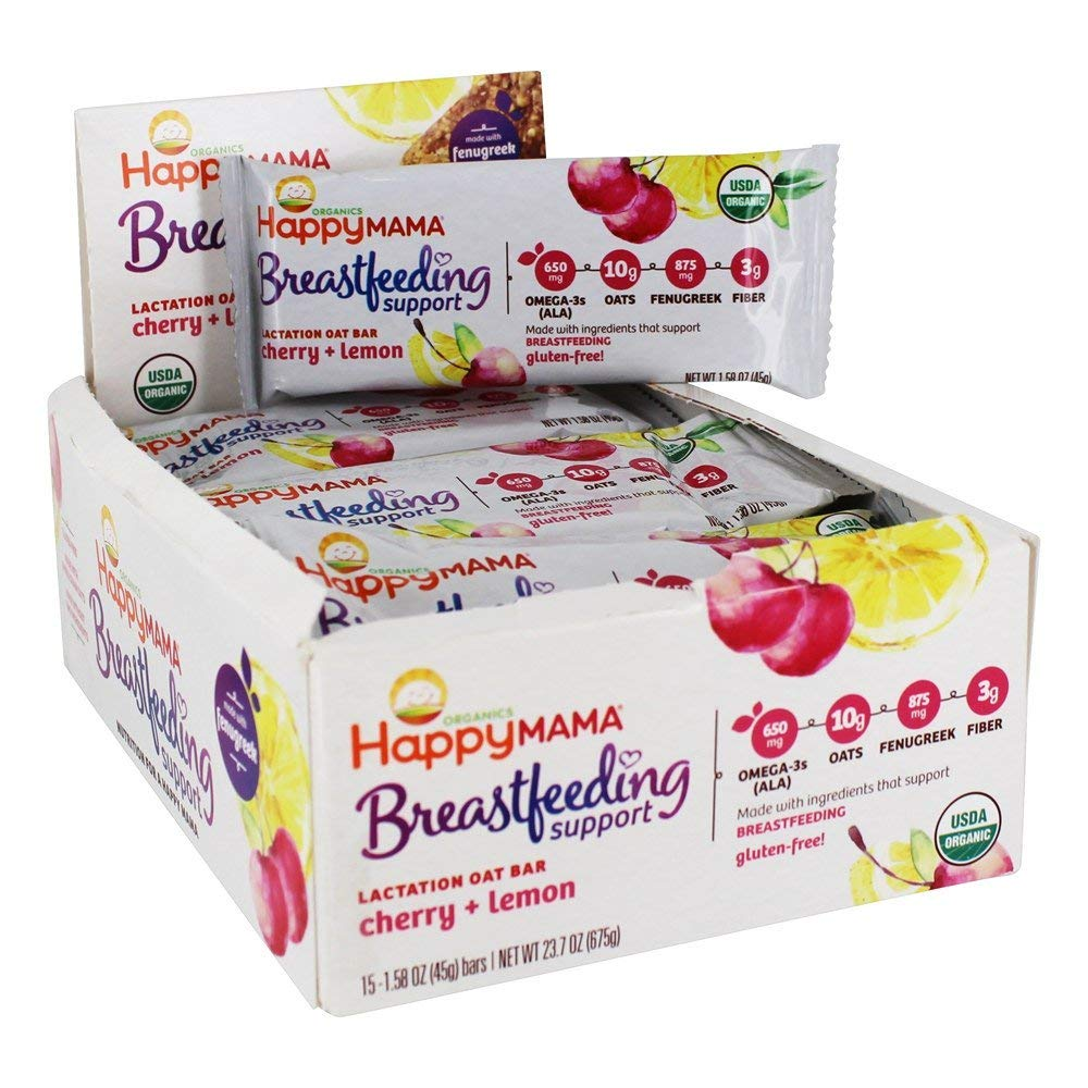 Happy Family - Happy Mama Organic Breastfeeding Support Lactation Oat Bar Cherry + Lemon - 15 Bars