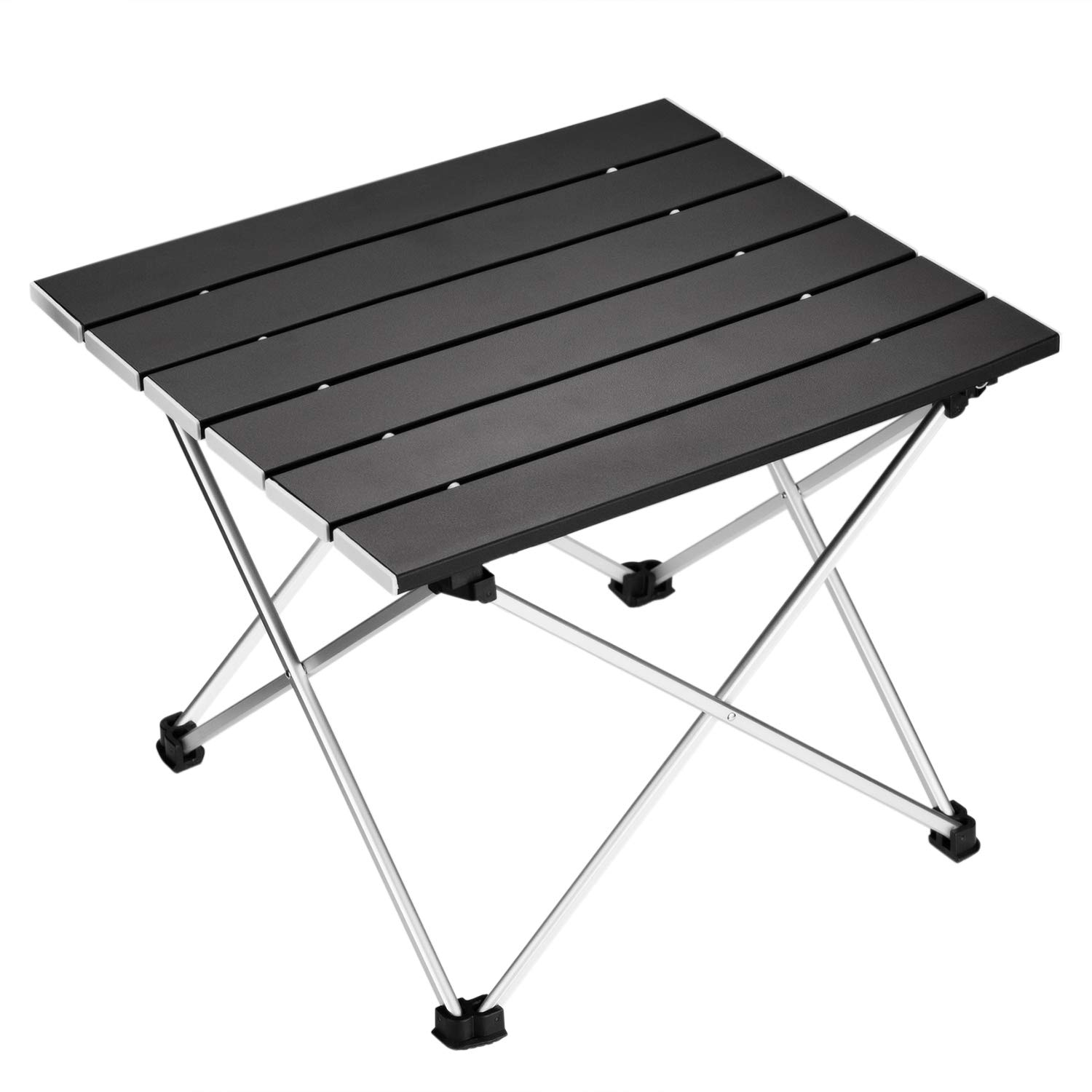 Black OMUKY Mini Camping Folding Table Aluminum Alloy Roll Up Picnic Table Small Portable Picnic Tables for Outdoor,Picnic,Travel,Beach
