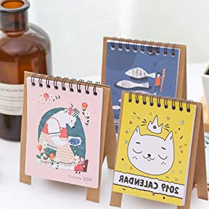 3 PCS Mini Desk Calendar 2018-2019 Cartoon Animal Bear Fish Cat Desktop Paper Calendar Daily Scheduler Table Planner Yearly Agenda Organizer, Runs from September 2018 Through December 2019