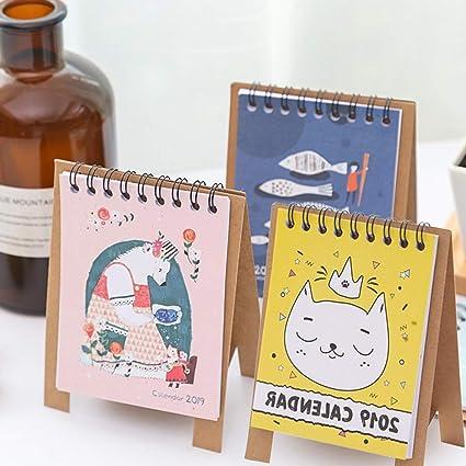 3 PCS Mini Desk Calendar 2018-2019 Cartoon Animal Bear Fish Cat Desktop Paper Calendar Daily Scheduler Table Planner Yearly Agenda Organizer, Runs ...