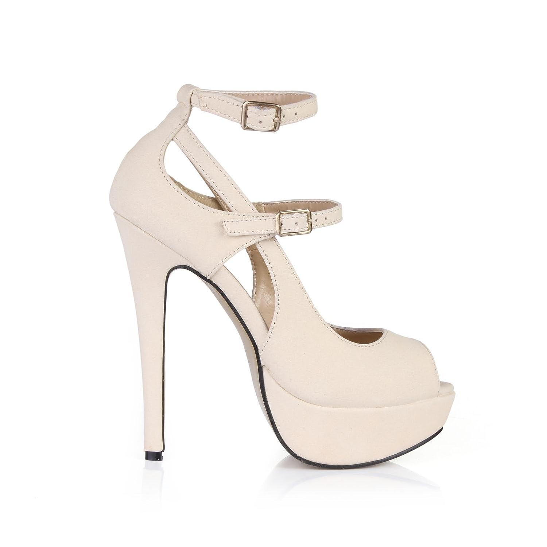 Best 4U® Frauen Frauen Frauen Sommer Sandalen Premium PU Peep Toe 14 CM High Heels 3 CM Plattformen Gummisohle Zwei Schnallen Pumps Beige - 04e13d