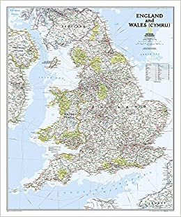 Road Map Of England And Wales With Towns.England And Wales Classic Tubed National Geographic Maps