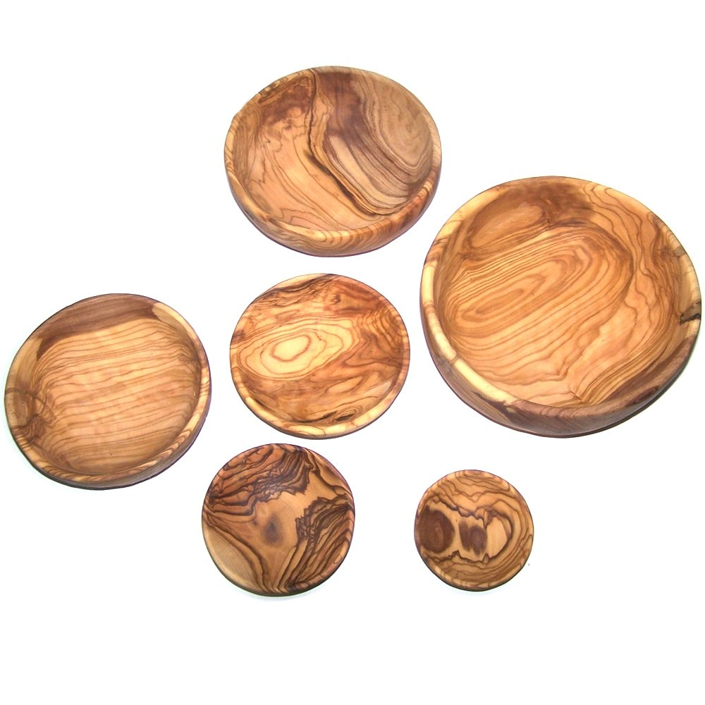 Olive Wood Handcrafted Bowls, Set of 6 sizes ( 2.8 - 7.2 Inches in diameter ) - Asfour Outlet Trademark by Holy Land Market