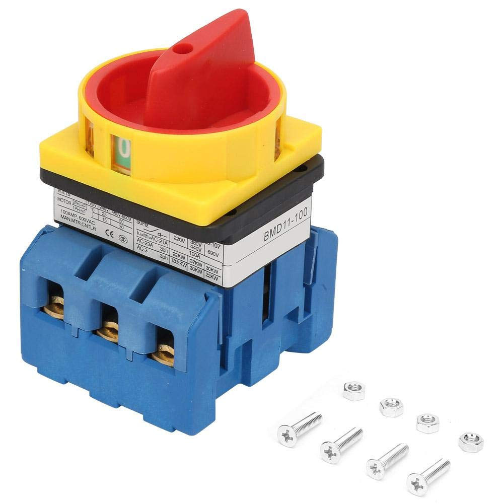 80A/100A Load Circuit Breaker Switch 3-Pole 2-Position Rotary Cam On-Off Power Switch Silver Plastic(100A)