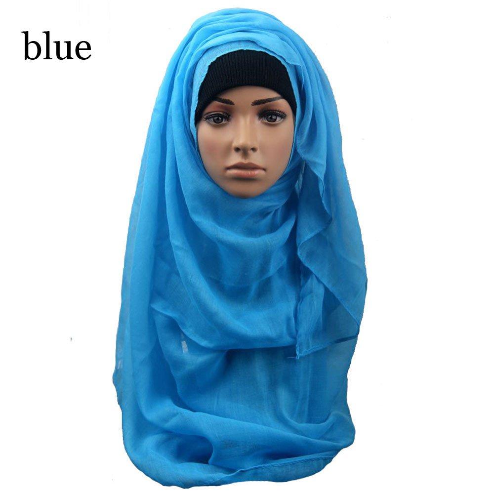 Xinnyuan Fashion Solid Women Face Mask Turban Muslim Head Wrap Soft Long Crinkle Scarf Shawl Scarves