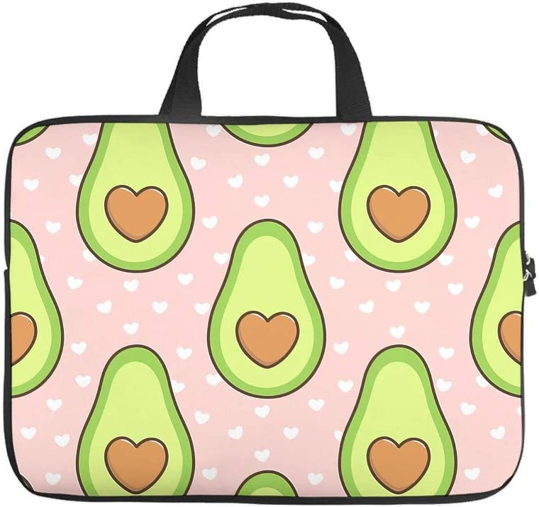 Trendy Laptop Sleeve Love Avocado Fruits Dots Pink Prints Notebook Protective Case Cover Lightweight Neoprene Fabric Laptop Computer Briefcase for Boyfriend Girlfriend White 13inch