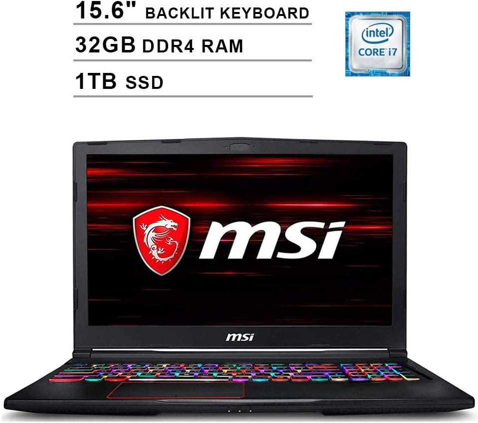2020 Newest MSI GE63 Raider 15.6 Inch FHD 1080P Gaming Laptop (8th Gen Intel 6-Cores i7-8750H up to 4.1GHz, Geforce RTX 2070 8GB, 32GB DDR4 RAM, 1TB SSD, Backlit KB, Windows 10)