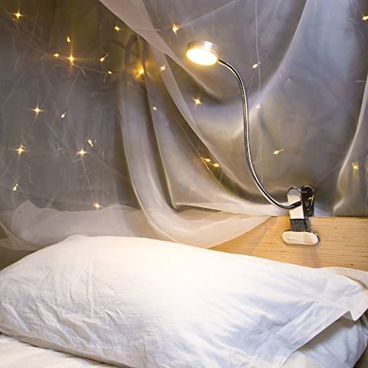 Eyocean LED Reading Light, Dimmable Clamp Light for Bed Headboard, Bedroom,  Office, 3 Modes & 9 Dimming Levels, Flexible Clip Desk Lamp, Adapter ...