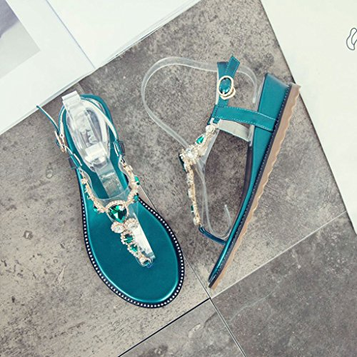 Chaîne SANDALS Une Bohemian Wedges Vert de Rome Beach épaisses Chaussures Orteils Perles Semelles Summer Clip Femme wwSq84zxr