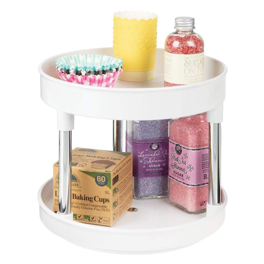 blanco Pr/áctico estante para especias para los armarios de la cocina o la encimera mDesign Especiero giratorio con dos pisos Soporte giratorio de pl/ástico para condimentos