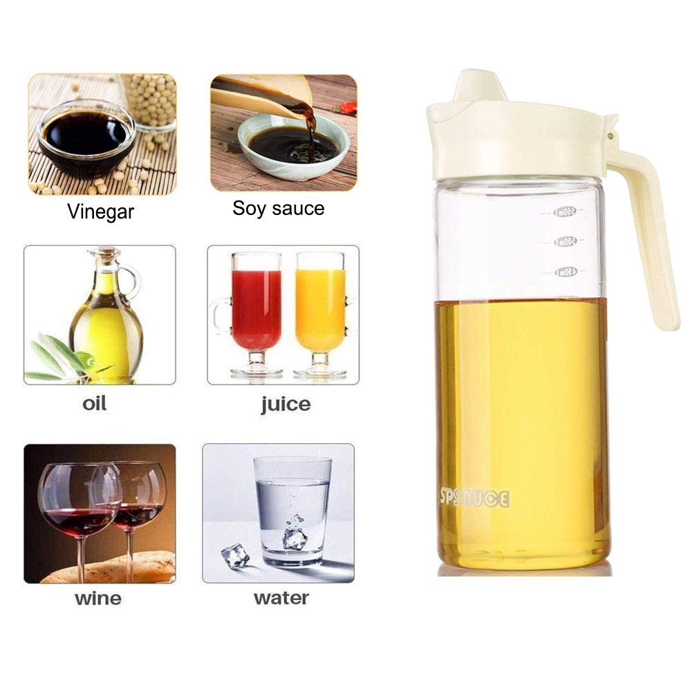 Drip Free Olive Oil Dispenser, Glass Salad Dressing Bottle, Vinegar Dispensing Cruets, Cooking Oil Condiment Containers with Measurement and Easy Pouring Spout for Kitchen by Marbrasse (Beige) by Marbrasse (Image #6)