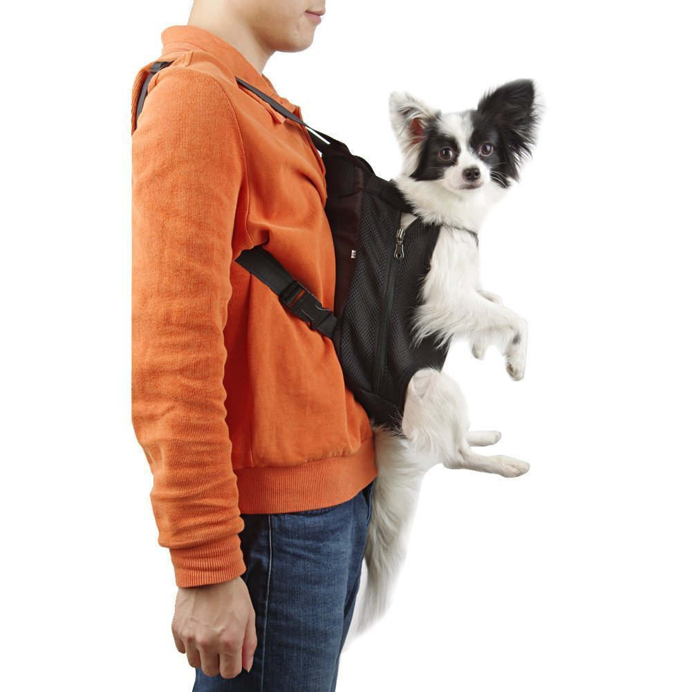 Petroad Pet Carrier Backpack Adjustable for Carrying Cat and Dog ,Pet Legs Out Front Mesh Backpack,Puppy Tote Holder Bag for Walking, Hiking, Bike and Motorcycle