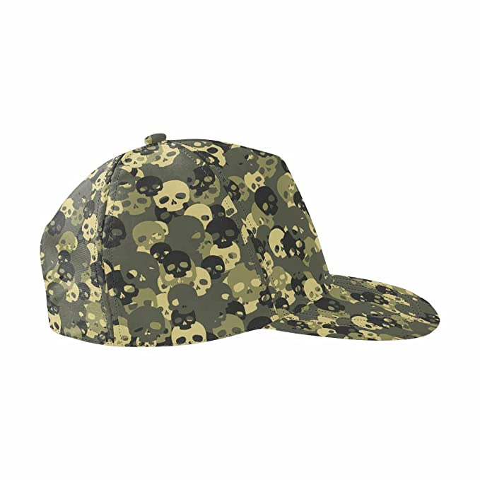 2f04e00c Image Unavailable. Image not available for. Color: InterestPrint Skull Green  Camouflage Unisex Snapback Hats ...