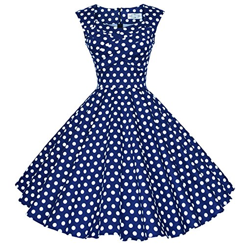 Maggie Tang 50s 60s Vintage Retro Swing Rockabilly Party Dress Navyblue White S