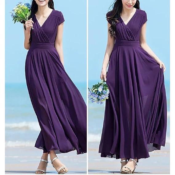 Vestido largo mujer, Amlaiworld Moda Mujer sexy Vestido largo de noche de gasa sólido con cuello en V vestido de playa vestidos niñas: Amazon.es: Ropa y ...