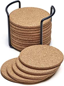 Cork Coasters Set, Pack of 16 Round Edge 4 Inch Coasters for Drinks in Office, Home and Cottage,Bar,Restaurant Fits Cold Drinks, Wine Glasses, Cups& Mugs Protect Furniture Surface