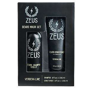 ZEUS Beard Shampoo and Beard Conditioner Set for Men - (8 oz. Bottles) (Scent: Verbena Lime)