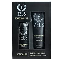 ZEUS Beard Shampoo and Beard Conditioner Set for Men - (8 oz. Bottles) (Scent: Verbena...