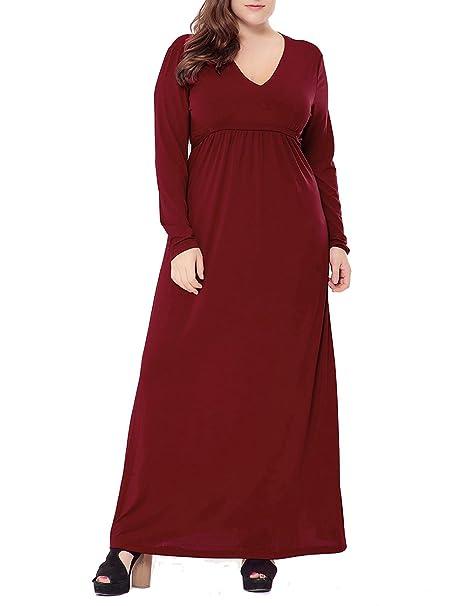 Tallas Grandes Vestidos De Mujer Fiesta Largos largo V cuello Maxi vestidos Vino rojo XL
