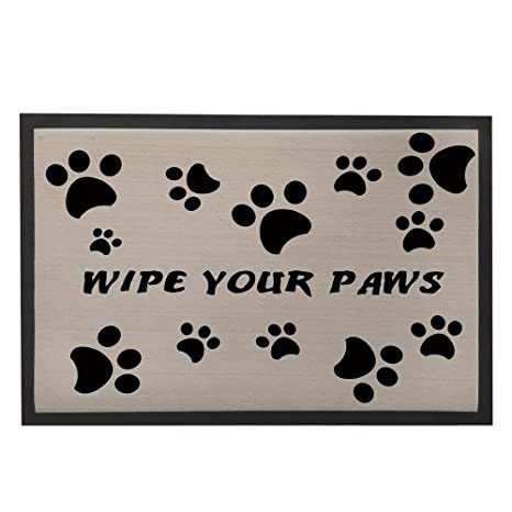 Non Slip/Skid Rubber Backed Doormat Dog Paw Print Floor Mat Rugs For  Entrance