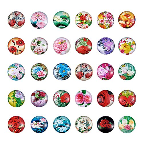 Cabachon Flowers - Pandahall 1Box/50Pieces Flower Printed Glass Cabochons Flatback Half Round Dome Glued Tiles Mixed Color 25x7mm for Circle Bezel Tray Setting