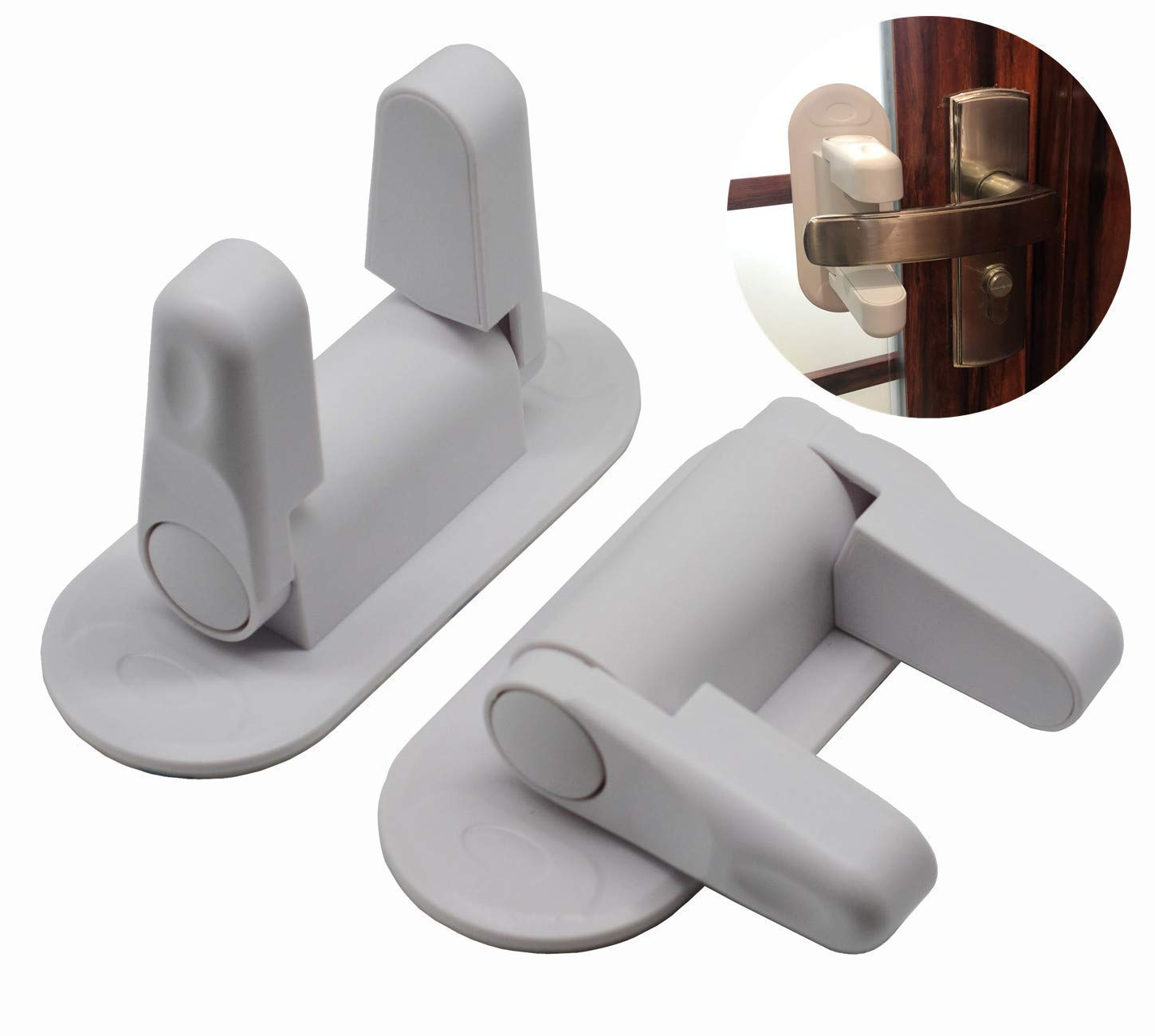 Door Lever Lock (2 Pack) Child Proof Doors & Handles 3M Adhesive - Child Safety FONLLAM