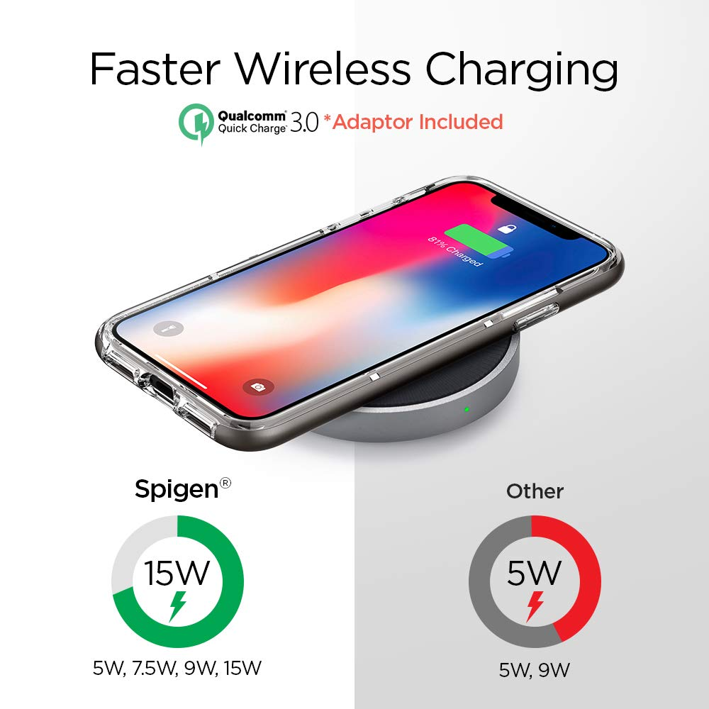 best service 3961a dcdea Spigen Essential F306W Fast Wireless Charger [15W] [Quick Charge 3.0 Power  Adaptor, Cable Inclus] Fast Wireless Charging Station Compatible with ...