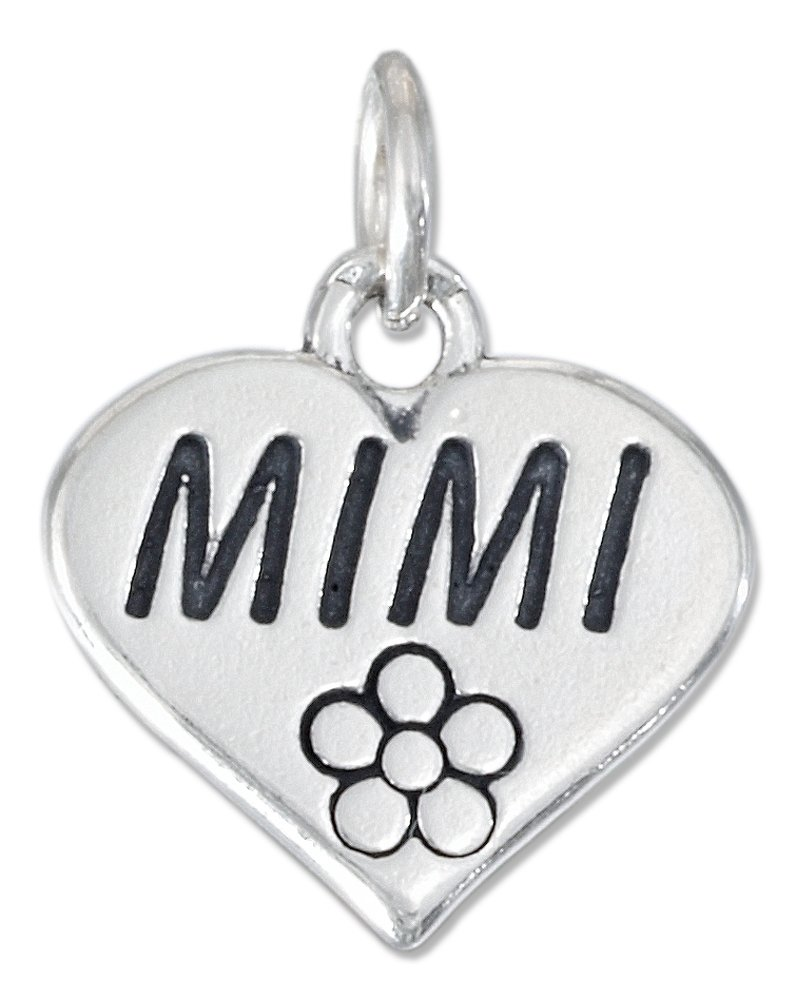 Sterling Silver High Polish Heart with Flower and ''Mimi'' Charm